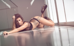 on the floor, girl, black lingerie, tattoo, black heels, high heels