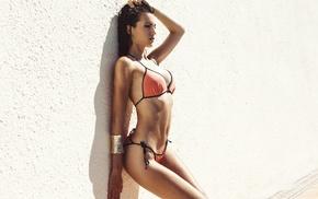 girl, bikini, flat belly, walls, hands in hair