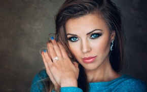 model, brunette, glamour, blue eyes, makeup, girl
