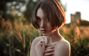 model, Georgiy Chernyadyev, hair in face, bare shoulders, depth of field, looking at viewer