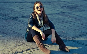 leather jackets, sitting, leather boots, scarf, girl, sunglasses