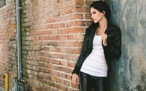 girl, dark hair, leather pants, side view, smoky eyes, white tops