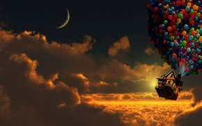 clear sky, sky, balloons, sunset, digital art, house