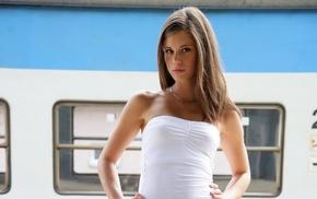 train, pornstar, girl outdoors, girl, white dress, dress