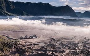 Indonesia, nature, sunrise, mist, mountain, landscape