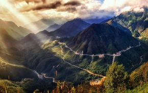 mountain, road, sun rays, valley, sunset, sky
