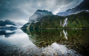 mist, lake, landscape, mountain, reflection, water
