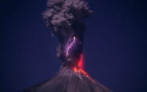 clouds, lightning, landscape, volcano