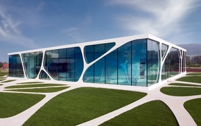 modern, glass, architecture, path, reflection, building