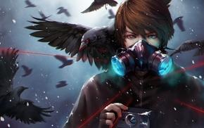 crow, dark, gas masks, fantasy art