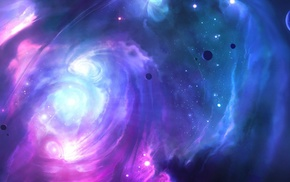 planet, space, 3D, galaxy, moon