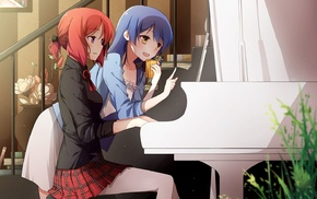 Love Live, piano, long hair, anime girls, blue hair, school uniform