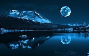 calm, blue, moon, reflection, lake, mountain