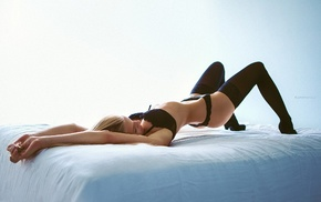 flat belly, high heels, model, lingerie, black panties, in bed