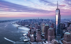 river, New York City, winter, city, USA, Freedom Tower