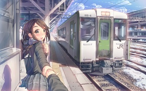 train station, original characters, scarf, anime girls, train, anime
