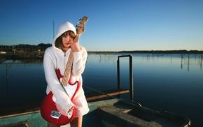 Asian, guitar, girl outdoors, bass guitars