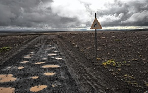 landscape, apocalyptic, mud, traffic signs