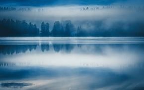 blue, nature, water, reflection, landscape, morning