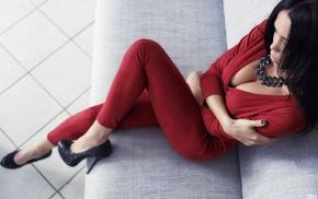 boobs, cleavage, girl, black heels, sitting, high heels