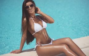 swimming pool, girl with glasses, girl, sitting, white bikini