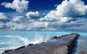 rock, nature, waves, clouds, landscape, sea