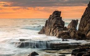 coast, evening, water, waves, sea, rock
