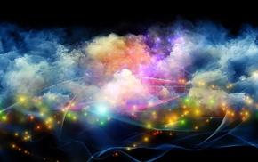 colorful, glowing, smoke, space, galaxy, minimalism