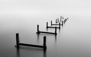 pier, wood, calm, blurred, ruin, water