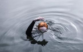 girl, water, redhead, hand, ripples, underwater