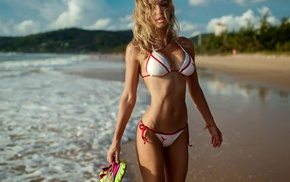 blonde, beach, sea, nika litvinova, girl, flat belly