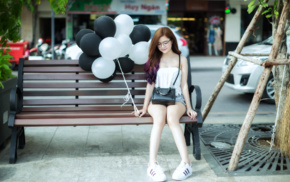 balloons, shoes, sitting, Asian, smiling, closed eyes