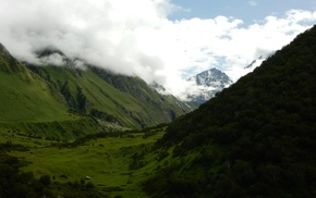valley, nature, India, Himalayas, clouds