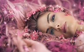 lips, pink flowers, face, lying on back, petals, depth of field