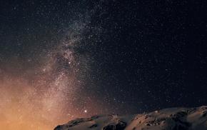 galaxy, Planetes, dark, stars, space