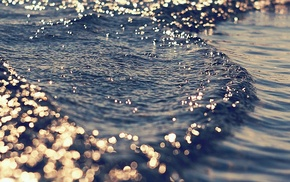 gold, water, blue, sea, waves