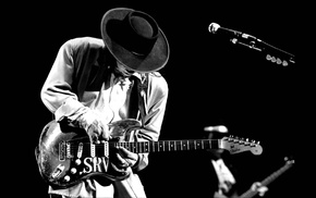 musicians, music, guitar, blues rock, monochrome, Stevie Ray Vaughan