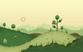 Sun, hill, digital art, minimalism, trees, house