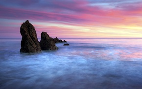 clouds, sunset, long exposure, waves, horizon, colorful