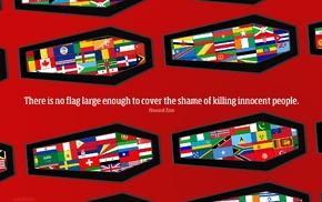 flag, people, Howard Zinn, coffins