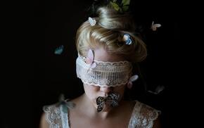 model, girl, butterfly