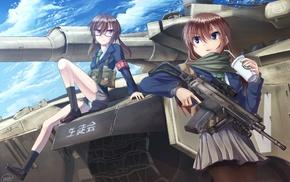original characters, anime girls, machine gun, weapon, anime