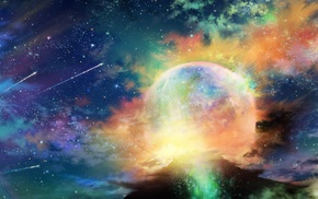 stars, space, planet, clouds, artwork