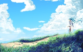 clouds, anime, twintails, sky, grass, water
