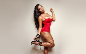 simple background, fishnet stockings, Raquel Reign, model, fishnet, high heels