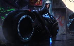 illustration, cyberpunk, fantasy art, colorful, futuristic, Tron