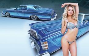 natural boobs, Ford Ltd, Lindsey Pelas, model, car, 1973 Ford Ltd