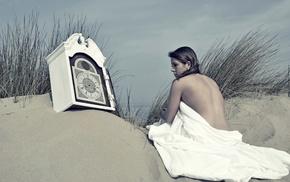 beach, girl outdoors, time, clocks, sand, strategic covering