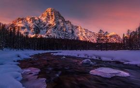 Alberta, frost, Canada, snowy peak, nature, cold