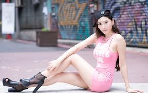 sitting, girl, dress, Asian, high heels